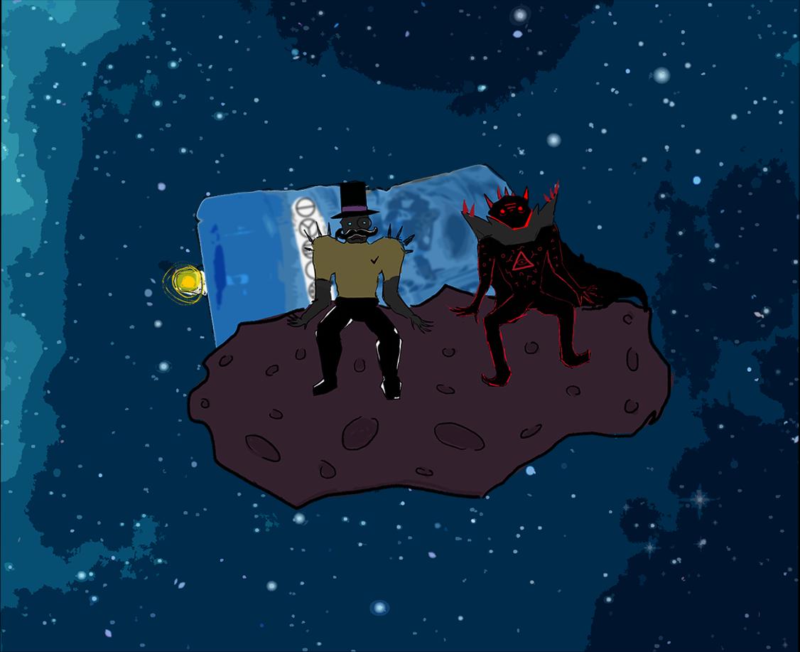 Viktor ja Manu asteroidilla (kauempana)